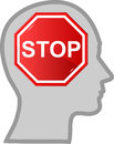 Head with sign stop Stock Images