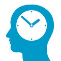 Head silhouette with a clock inside conceptual illustration of mans depciting time time management punctuality and deadlines Royalty Free Stock Photo