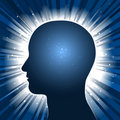 Head silhouette with star burst background Royalty Free Stock Photo
