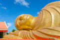 Head of sleeping buddha statue