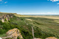 Head smashed in buffalo jump canadian prairie at world heritage site southern alberta canada Royalty Free Stock Photo