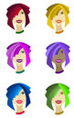 Head of smiling girl with multi colored hair and skin vector illustration the a shades Stock Photos