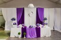 Head table for newlyweds at the wedding hall elegant restaurant room before party horizontal Stock Photo