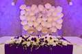 Head table for the newlyweds at the wedding hall. Royalty Free Stock Photo
