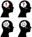 Head with thought or speech bubble vector illustration of emotion concept question idea sadness depression happiness Royalty Free Stock Photo