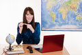 The head of the travel agency young beautiful employee in office Royalty Free Stock Image