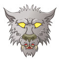 Head of werewolf baring his teeth hunting on the white background Royalty Free Stock Photo