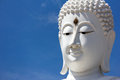 Head of white buddha against blue sky. Royalty Free Stock Photo