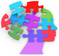 Head of a woman as mind thought problem jigsaw puzzle pieces Royalty Free Stock Photo