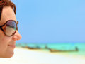Head of a woman in sunglasses. Stock Image