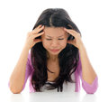 Headache Asian woman Stock Photos