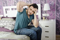 Headache and illness man with or hangover in home bedroom Stock Photography