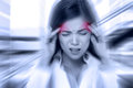 Headache migraine people doctor stressed woman woman nurse with overworked and health care Stock Images