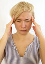 Headache portrait of young woman suffering from Royalty Free Stock Photography