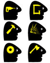 Headache symbols set of conceptual vector signs for a variety of pain Royalty Free Stock Image