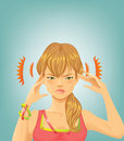 Headache young woman with a holding head Royalty Free Stock Photos