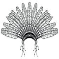 Headdress in Aztec style symbolizing Native American people in black and white in drawing style with decorative feathers, beads an Royalty Free Stock Photo