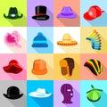 Headdress hat icons set colorful, flat style
