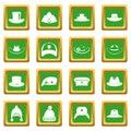 Headdress hat icons set green