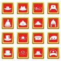 Headdress hat icons set red