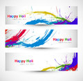 Header colorful set grunge dirty of holi festival design Stock Photography