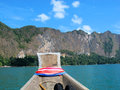 Heading to mountain boat at ratchapra dam khaosok dam suratthani thailand Royalty Free Stock Photography