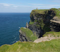 Headland at cliffs of moher castle on in south western ireland in burren region county clare Royalty Free Stock Image
