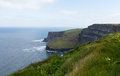Headland at cliffs of moher in south western ireland in burren region county clare Royalty Free Stock Images