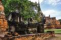 Headless Buddha in attitude of meditation statue ruins in Wat Phra Sri Sanphet Historical Park, Ayutthaya province, Thailand