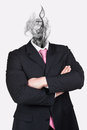 Headless dreaming businesswoman isolated on grey Royalty Free Stock Image