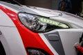 Headlights of a sport car motor show geneve Stock Photography