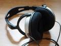 Headphone a on the floor Stock Photo