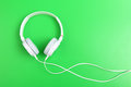 Headphone on the green background Stock Images