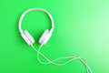 Headphone on green background the Stock Photo