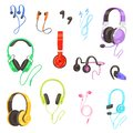 Headphone vector headset listening to stereo sound music earphones and modern audio dj equipment illustration set of