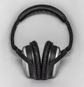 Headphones black and grey with leather earmuffs and head comforter Royalty Free Stock Photography