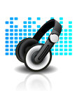 Headphones - blue background Royalty Free Stock Photography