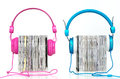 Headphones with cd on a white background Royalty Free Stock Images