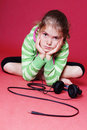 Headphones and child Royalty Free Stock Photos