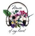 Headphones with flowers
