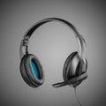 Headphones On Grey Background