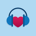 Headphones heart symbol listening to Royalty Free Stock Images