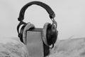 Headphones  loudspeaker on white background Royalty Free Stock Photo
