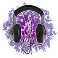Headphones and music Stock Image