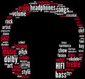Headphones music tagcloud Royalty Free Stock Photos