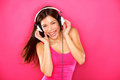 Headphones music woman dancing Royalty Free Stock Images