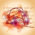 Headphones  & notes Stock Images