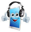 Headphones phone man a drawing of a cartoon smiling Royalty Free Stock Photography