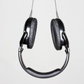 Headphones photo of black audio Stock Photo