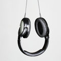 Headphones photo of black audio Stock Images